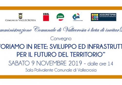 """9 Novembre, Vallecrosia (IM): """"LAVORIAMO IN RETE: SVILUPPO ED INFRASTRUTTURE PER IL FUTURO DEL TERRITORIO"""""""