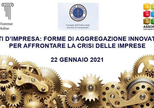 """22 Gennaio, diretta online """"RETI D'IMPRESA: FORME DI AGGREGAZIONE INNOVATIVE PER AFFRONTARE LA CRISI DELLE IMPRESE"""""""