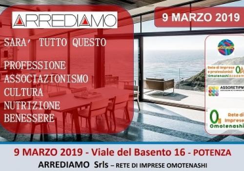 9 MARZO, POTENZA: Evento inaugurale Show Room Arrediamo - Rete d'Impresa OMOTENASHI