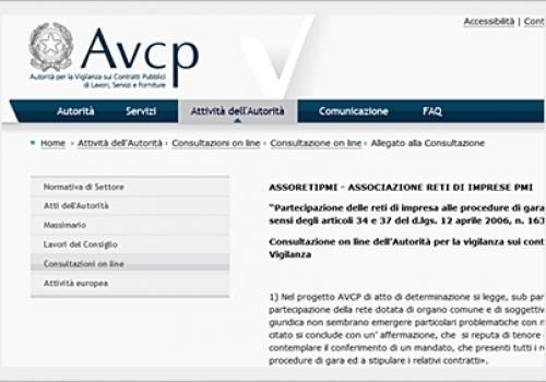 L'AVCP ha pubblicato il contributo di ASSORETIPMI sulle gare di appalto per le Reti di Impresa