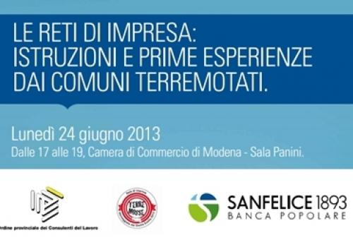 24 Giugno, Modena: Le Reti di Impresa, istruzioni e prime esperienze dai Comuni terremotati